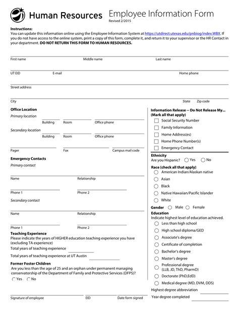 16079 employee information form 10 employee information form exles pdf