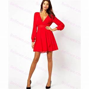 robe rouge manche longue robe femme chic bersun With robe rouge manche longue