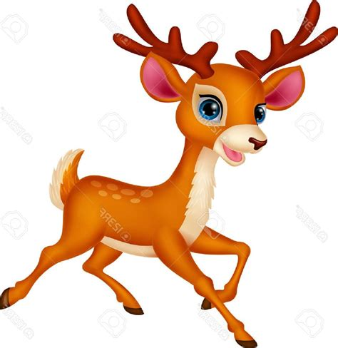 top cute deer cartoon running drawing
