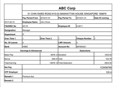 One for employee wage and tax information; 22+ Payslip Template Singapore - Templatesz234