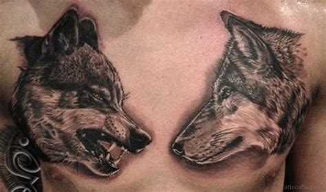 Japanese Wolf Chest Tattoo