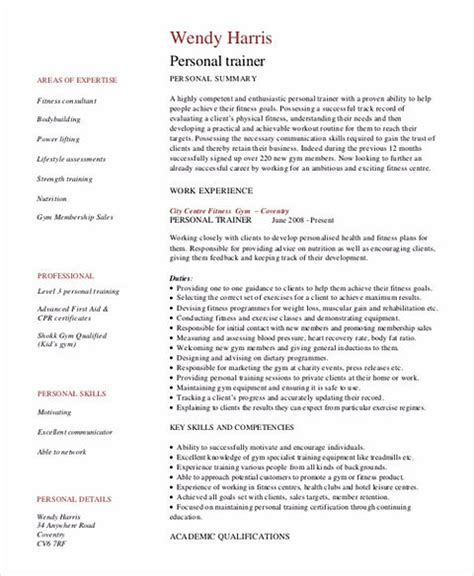 Personal Trainer Sle Resume by Personal Trainer Resume Sle And Tips