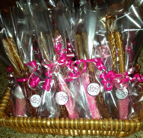 Chocolate Covered Pretzel Rod Wedding Favors