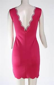 Women Hot-Pink V-neck Sleeveless Cocktail Party Mini Dress ...