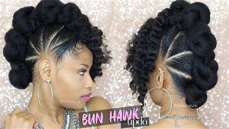 bun hawk updo natural hair tutorial thechicnatural she