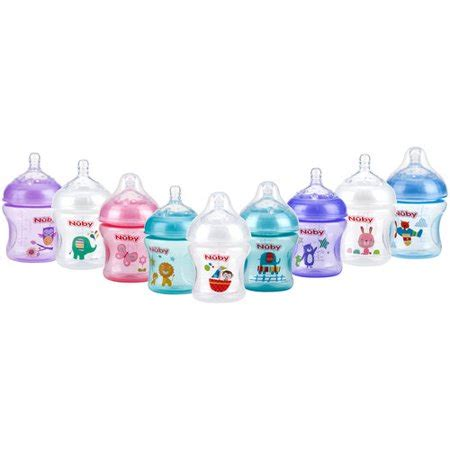 nuby natural touch tinted 3pk 6oz bottles with slow flow with printed pacifier colors