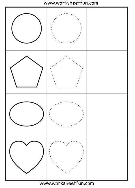 shape tracing 3 worksheets free printable worksheets