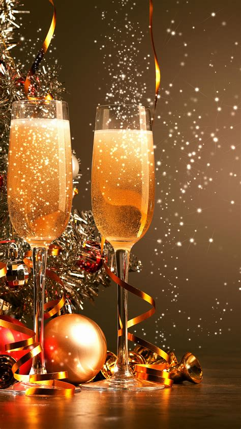 wallpaper christmas  year champagne balls