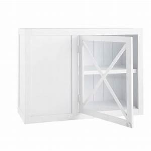 Meuble D Angle Haut Cuisine : meuble haut d 39 angle vitr de cuisine ouverture gauche en bois blanc l 97 cm newport maisons du ~ Teatrodelosmanantiales.com Idées de Décoration
