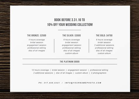 pricing guide flyer template  photographers wedding