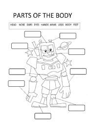 parts   body robots esl worksheet  cristina