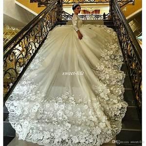 Gorgeous Long Sleeve Ball Gown Wedding Dresses Long Train