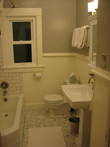 Beadboard And Tile Bathroom by Subway Tile With Grout And Beadboard Wainscoting
