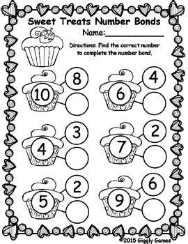 sweet treats number bonds worksheet by giggly tpt