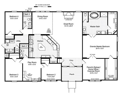 floor plan designs for homes model the hacienda ii vr41664a manufactured home floor plan or
