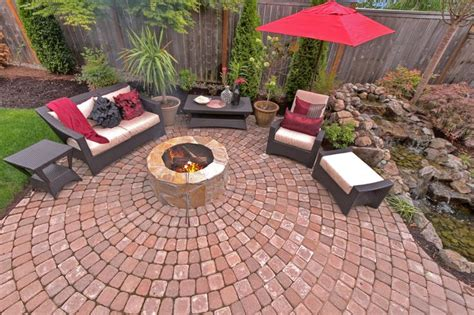 pit and water feature paver patio