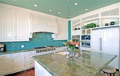 light teal kitchen a turquoise kitchen in malibu interiors by color 3761
