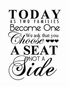 free wedding printable choose a seat not a side With wedding signs templates free