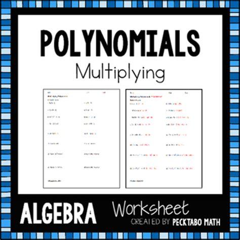 multiplying polynomials algebra worksheet by pecktabo math tpt