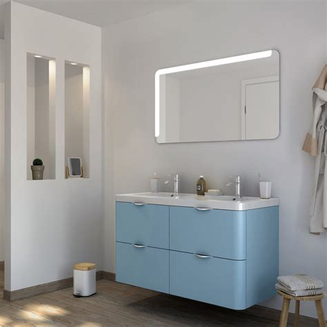 meuble de salle de bains plus de 120 bleu neo shine leroy merlin