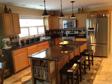 honey oak kitchen cabinets with granite countertops dark granite countertops with oak cabinets home