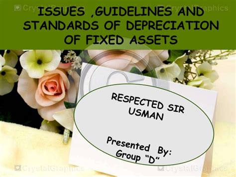 depreciation of fixed asset issues guidelines and standards of depreciation of fixed