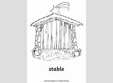 Nativity Colouring Page Stable