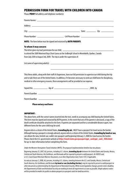 letter  permission  travel  printable documents