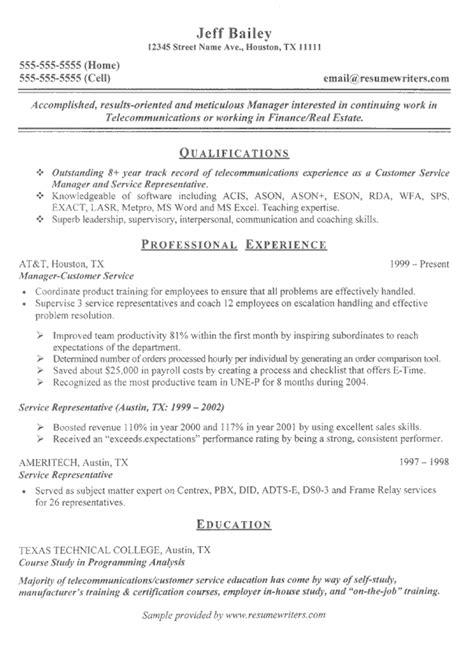 telecom sample resume telecom resume resumewriters