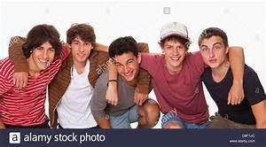 Five friends group boys mates pals smiling studio Stock ...