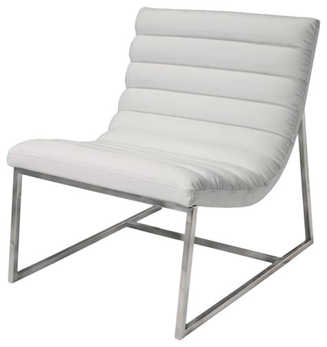kingsbury white leather lounge accent chair contemporary