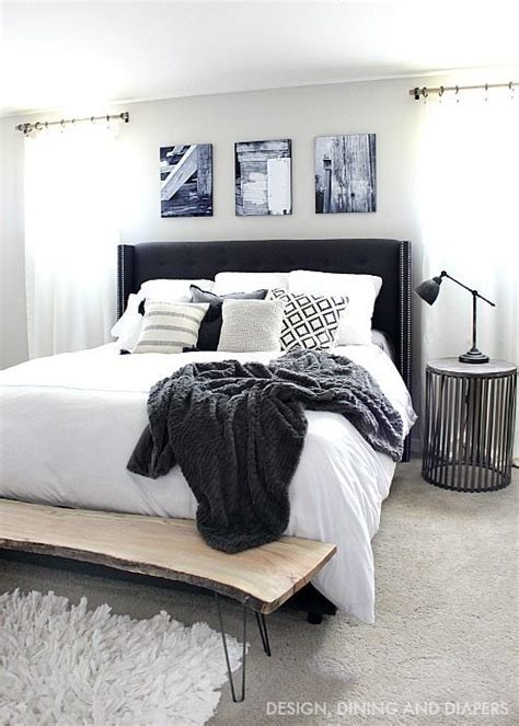 black and white master bedroom diy rustic curtain rods taryn whiteaker 18338 | Black and White Master Bedroom with Wood accents