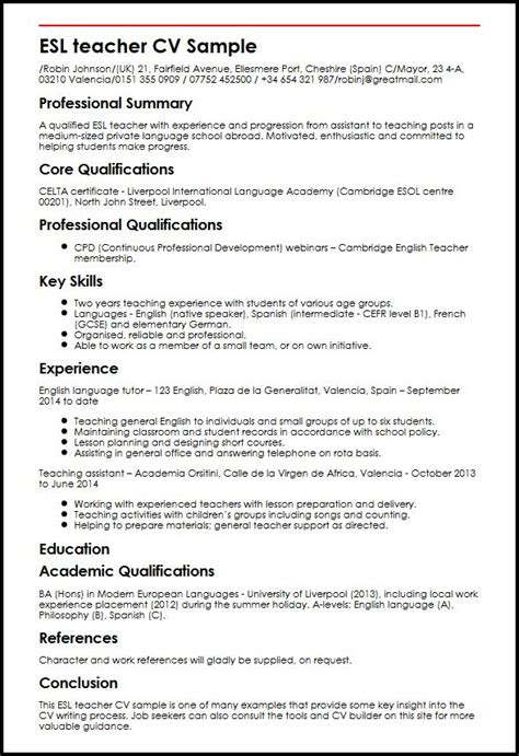 esl teacher cv sample myperfectcv