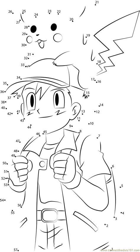 print cute ash  pikachu dot  dot printable worksheet  cartoonspokemon