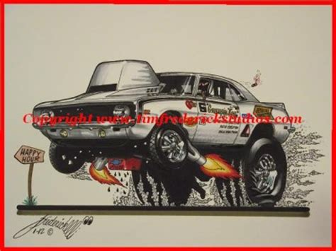 Two Bill Grumpy Jenkins Camaro Cartoons 68 & 69 Drag Art