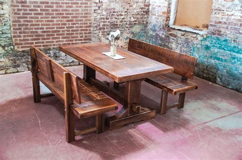 Kitchen Organizing Ideas - narrow solid wood distressed trestle dining table with benches with back for rustic farmhouse