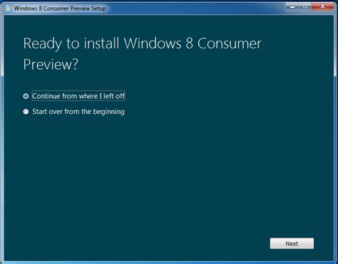 Continue With System Resume Windows 7 by Upgrading Windows 7 To Windows 8 Consumer Preview Build