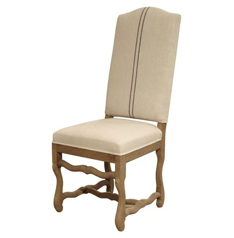 country camel back linen gray stripe dining chair