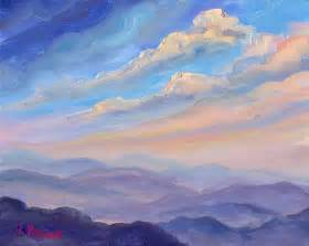 Mountain Oil Painting Clouds