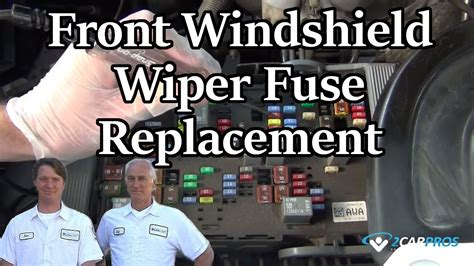 front windshield wiper fuse replacement youtube