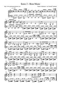 Sonic Piano Sheet Music