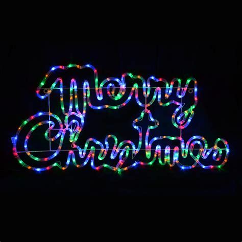 multi coloured led rope light merry christmas sign