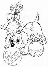 Coloring Christmas Pages Puppy Adults Dogs Adult Colouring Sheets Printable Dog Winter Card Pokemon Ornaments Lights Drawings Animal Books Xmas sketch template