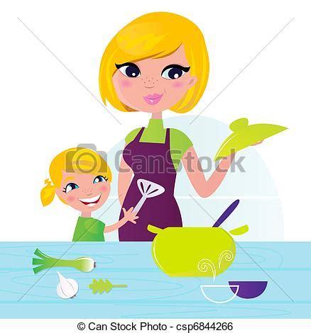 si鑒e enfant clip vektor mutter kochen gesunde