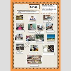 Parts Of School  Matching  Esl Worksheet By Houda Benbrahim