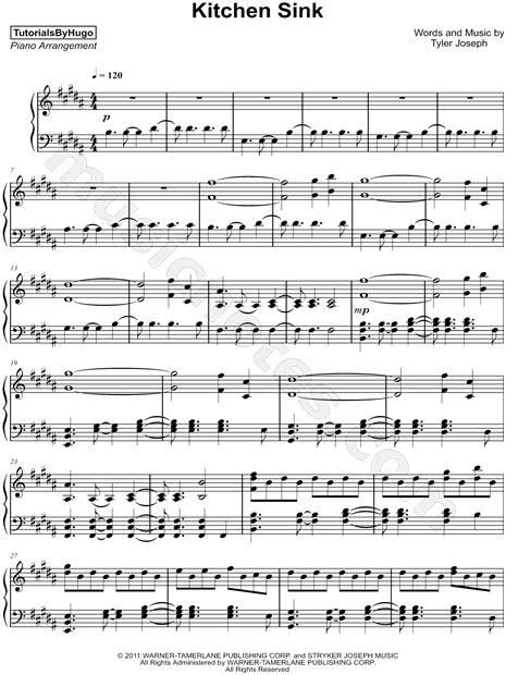 tutorialsbyhugo quot kitchen sink quot sheet music piano solo in