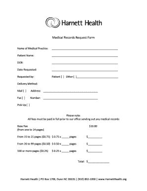 printable medical records request form templates