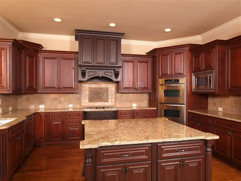 luxurious kitchen cabinets luxury home kitchen front center island stock photo 3901