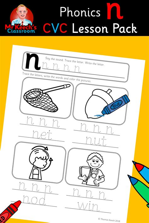 phonics worksheets lesson plan flashcards  nn lesson