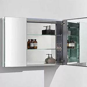mirror cabinet 2 door w glass shelves hinges alu With ava bathroom furniture